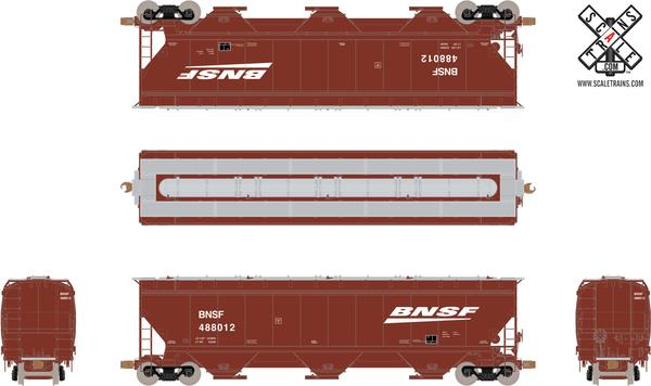 ScaleTrains HO Operator SXT10544 Gunderson 5188 cf Covered Hopper Burlington Norther Santa Fe BNSF Wedge #488328