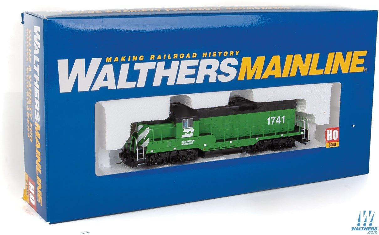 Walthers Mainline HO 910-10403 EMD GP9 Phase II with Chopped Nose Locomotive with Standard DC Burlington Northern BN #1741