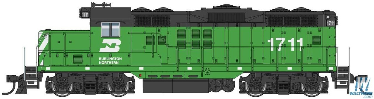 Walthers Mainline HO 910-10402 EMD GP9 Phase II with Chopped Nose Locomotive with Standard DC Burlington Northern BN #1711
