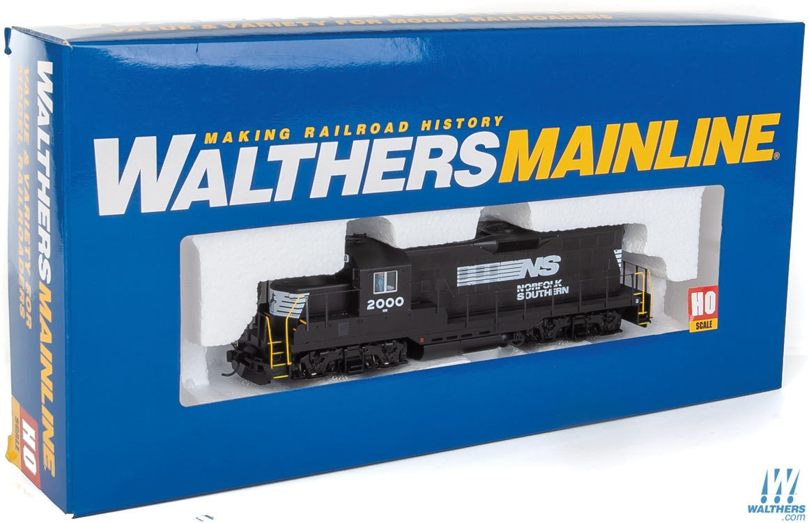 Walthers Mainline HO 910-10410 EMD GP9 Phase II with Chopped Nose Locomotive with Standard DC Norfolk Southern NS #2000