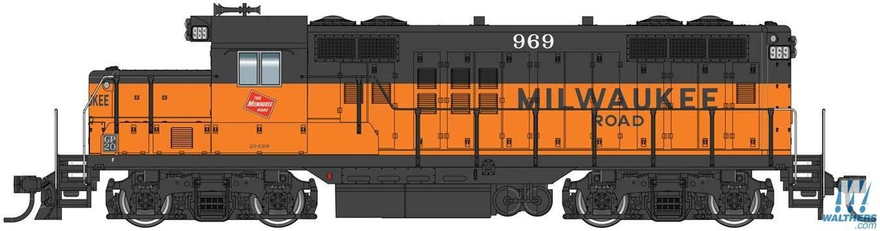 Walthers Mainline HO 910-10408 EMD GP9 Phase II with Chopped Nose Locomotive with Standard DC Milwaukee Road Milw #969