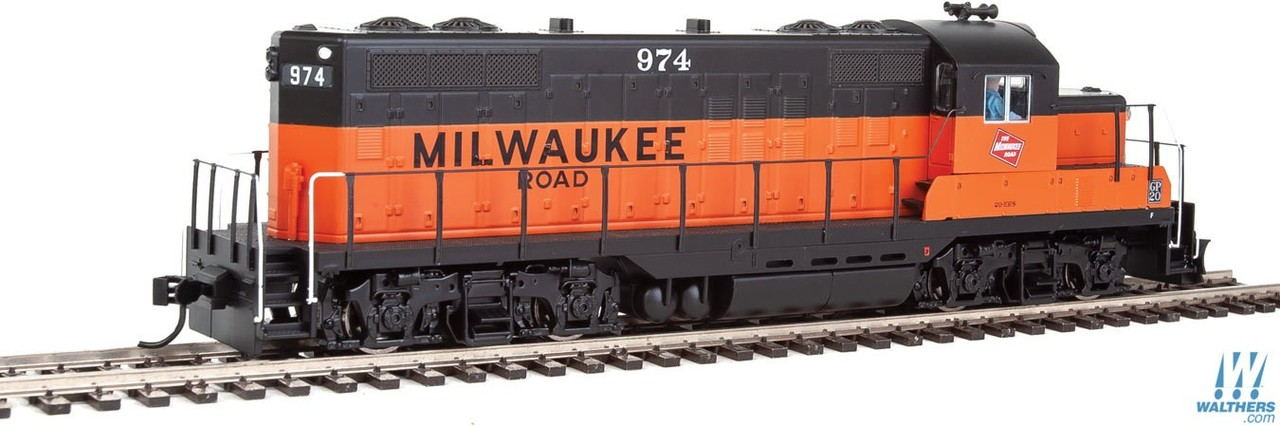 Walthers Mainline HO 910-10409 EMD GP9 Phase II with Chopped Nose Locomotive with Standard DC Milwaukee Road Milw #974