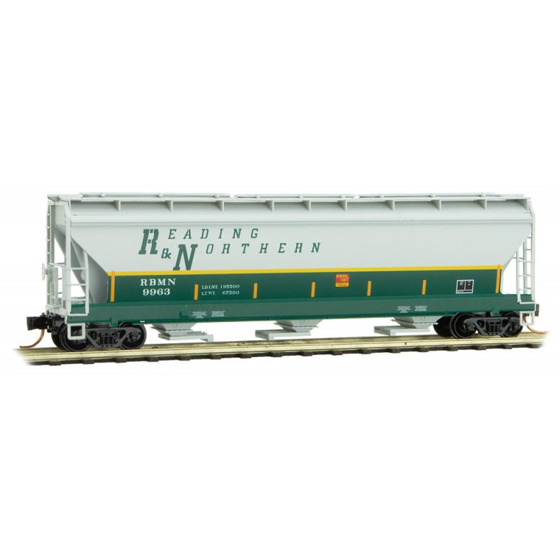 Micro Trains Line 094 00 550 3-Bay Covered Hopper with Elongated Hatches Reading & Northern RBMN #9963