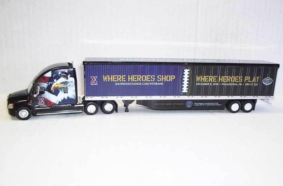 Trucks N Stuff HO TNS209B Freightliner Cascadia Sleeper Cab with 53' Trailer Where Heroes Play