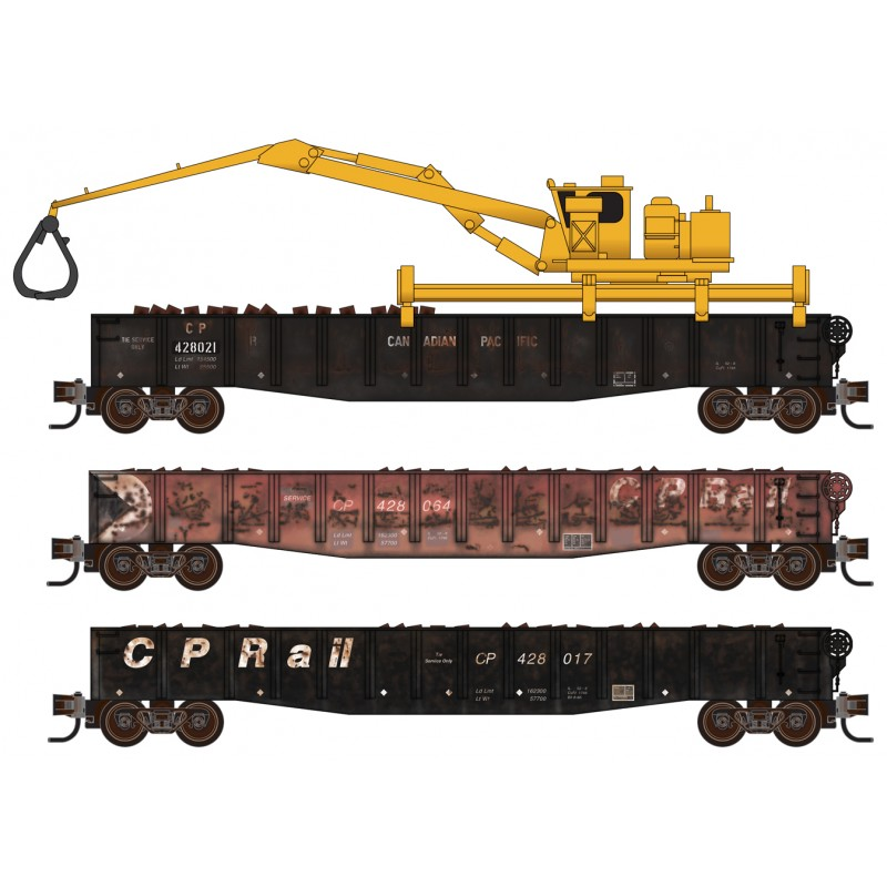 Micro Trains Line 993 02 090 Canadian Pacific CP Rail Tie Loader - Weathered - 3 Pack