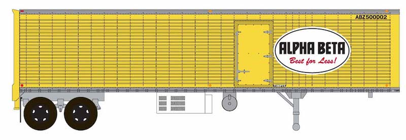 Trainworx HO 80258-01 40' Corrugated Reefer Trailer Alpha Beta 'Best For Less' ABZ #500002