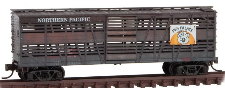 Micro Trains Line N 993 05 820 40' Despatch Stock Car 'Pig Palace' Weathered Northern Pacific  84142, 84162 - 2 Pack