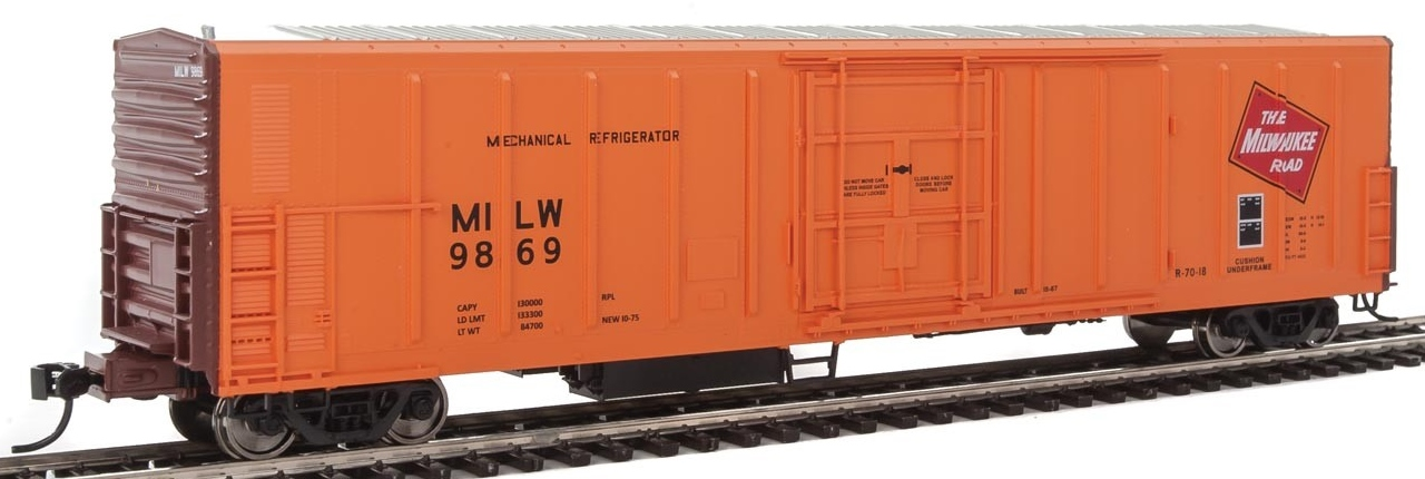 WalthersMainline HO 910-3932 57' Mechanical Reefer Milwaukee Road MILW #9869