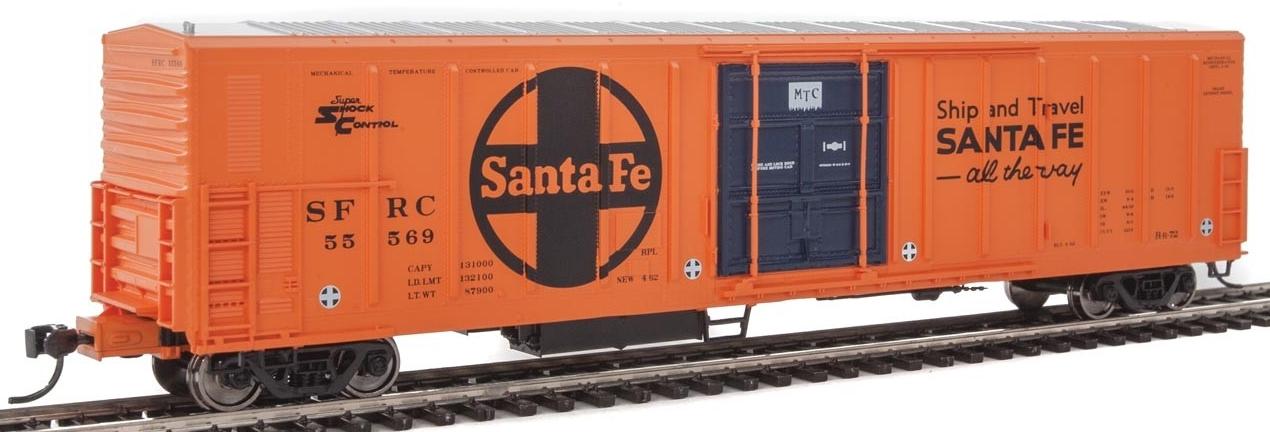 WalthersMainline HO 910-3938 57' Mechanical Reefer Santa Fe Large Logo 'Ship and Travel' Slogan SFRC #55569
