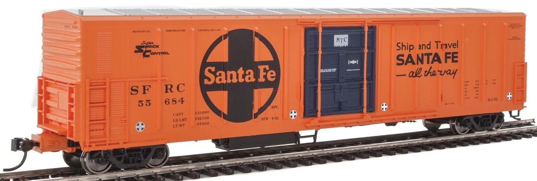 WalthersMainline HO 910-3939 57' Mechanical Reefer Santa Fe Large Logo 'Ship and Travel' Slogan SFRC #55684