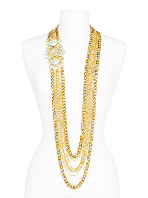 ESTELLE LUXE MULTI-STRAND CHAIN & CRYSTAL NECKLACE