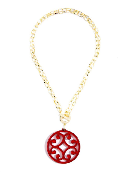 CIRCLE SCROLL PENDANT NECKLACE