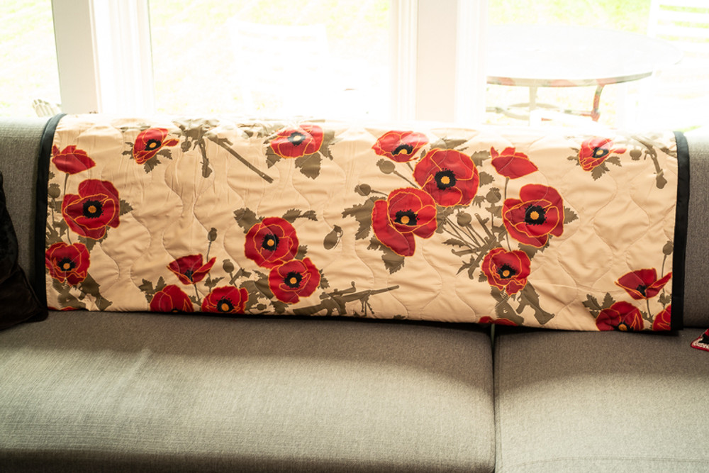 Woobie USA Tribe Throw Blanket - Poppies of War - Tan - Bawidamann Art