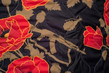 Woobie USA Tribe Throw Blanket - Poppies of War - Black - Bawidamann Art