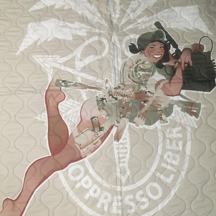 Woobie USA Tribe Throw Blanket - Green Beret Girl on Desert Tan - Bawidamann Art