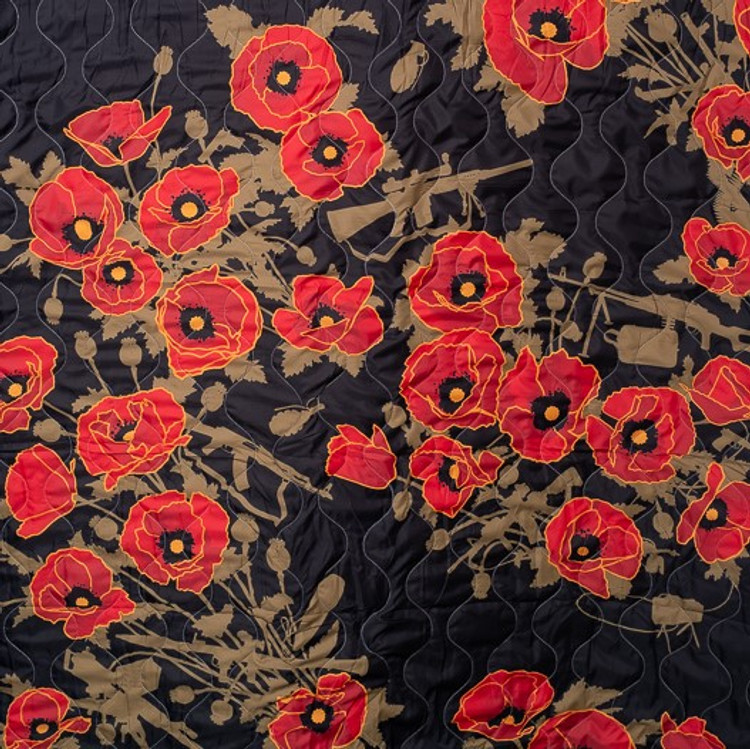 Woobie USA Tribe Throw Blanket - Poppies of War - Black - Bawidamann Art