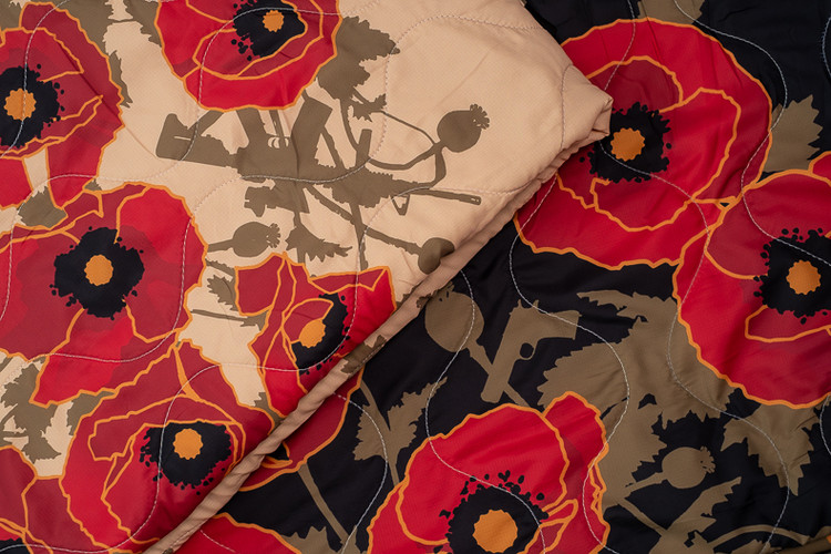 Woobie USA Tribe Throw Blanket - Poppies of War SET of 2 - Bawidamann Art