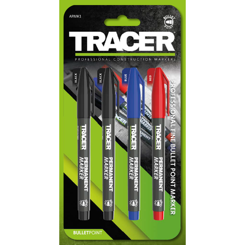 Tracer 4pc Professional Fine Bullet Point Markers
