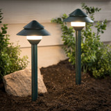LED Verdigris Low Voltage Pathway Lights - 2 Pack - 1.5 Watt - 100 Lumens - 3000K - Duracell
