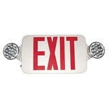 LED Remote Capable - Self Diagnostic Exit/Emergency Combo Sign - Morris Red LED Color/White Housing