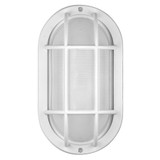 LED White Bulkhead Outdoor Wall Light - Aluminum Bezel & Ribbed Glass Lens - Euri Lighting