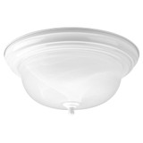 Close-to-Ceiling - Two Light Flush Mount Dome With Alabaster Glass - White - Progress Lighting