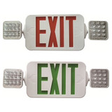 Double Side LED Combination Exit Sign - High Output - Adjustable Square LED Lamp Heads - 90 Min. Emergency Operation - 120/277V - Morris