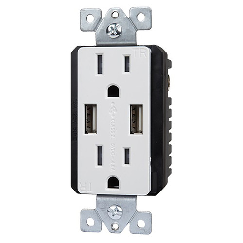 Dual USB 4.8A Ultra High Speed Charger - 15A Tamper Resistant Receptacle - Enerlites