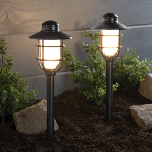 LED Black Low Voltage Pathway Lights - 2 Pack - 1.5 Watt - 100 Lumens - 3000K - Duracell RS244M-M100-BK-2