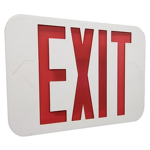 LED Remote Capable Classic Exit Sign - Morris Red LED Color/White Housing
