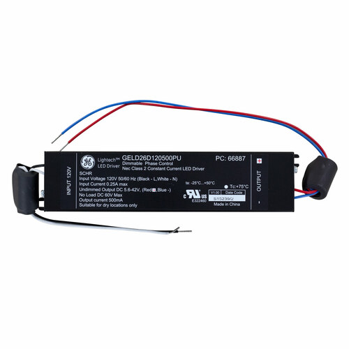 Light Tech LED Driver - Phase Dimmable - Input 120V  AC - Output 26W Constant Current 500mA DC 5.6-42V