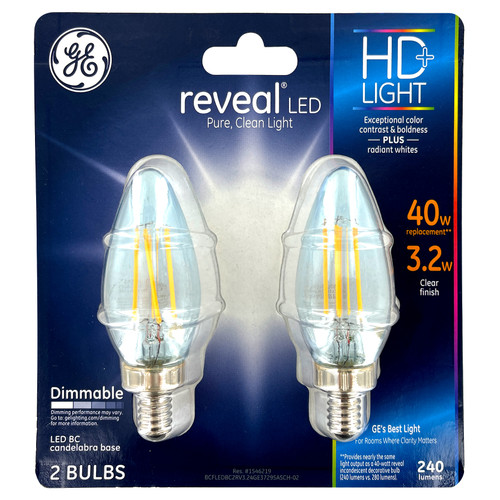 LED Candleabra - 3.2W - Clear Lens - 240 Lumens - Dimmable - 2 Pack
