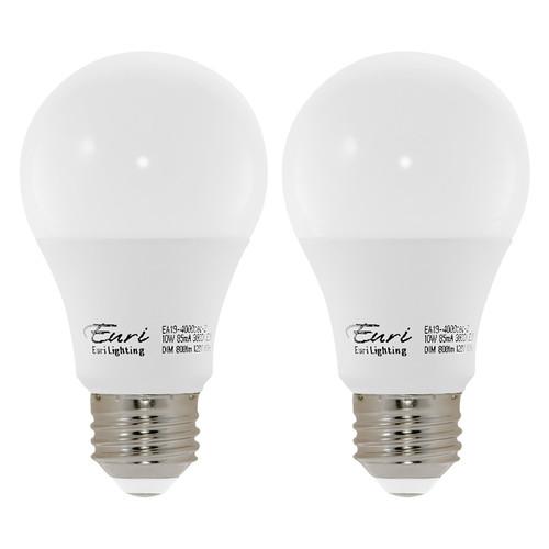 LED A19 Omni Bulb - 2 Pack - 10 Watt - 60W Equiv - CEC Compliant - Dimmable - 800 Lumens