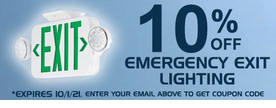 10% Off Emergency Exit Lighting