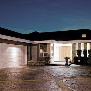 Exterior of garage with floodlights