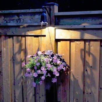 Hanging flower basket with a solar light