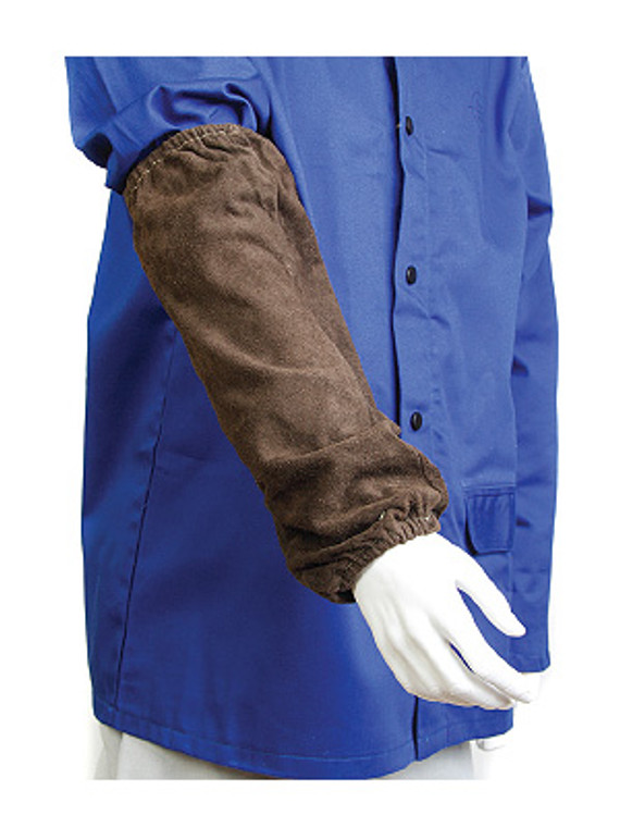 Leather Welding Sleeves 40cm Charcoal Brown Pair