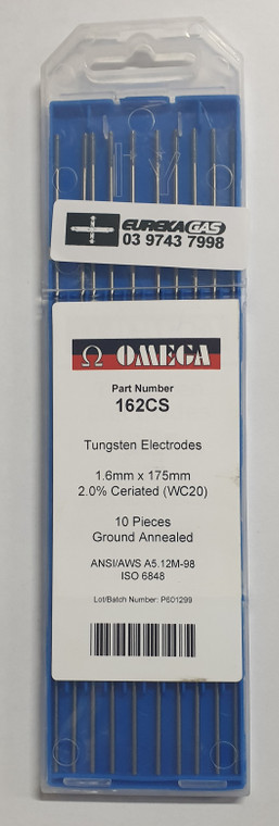 Tig Electrode 1.6mm T/Tungsten Grey 2% Ceriated x 175mm AC/DC (10pack)