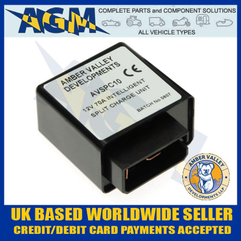 amber, valley, avspc10, 12v, 70a, intelligent, split, charge, voltage, relay