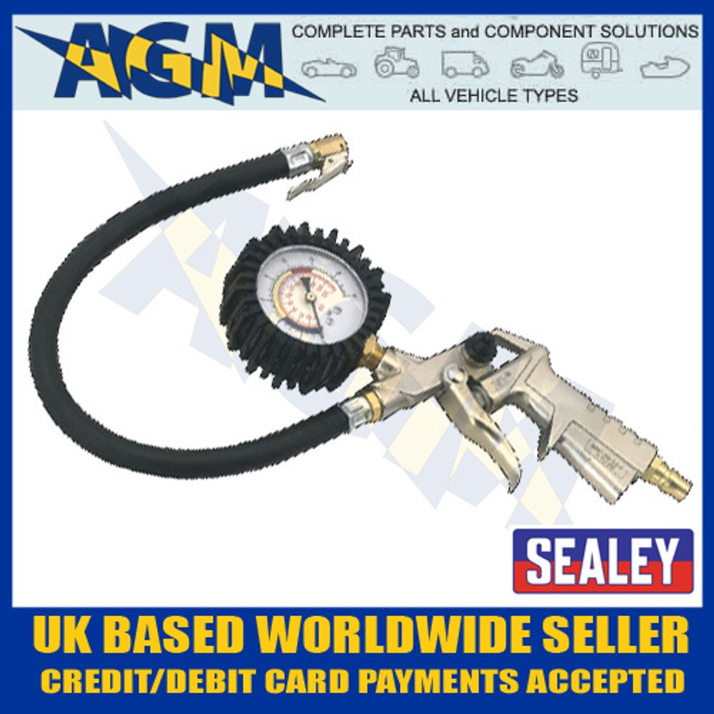 Sealey SA924 Tyre Inflator with Clip-On Connector