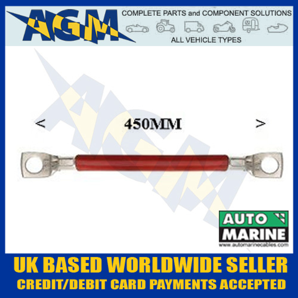 Bs104r 450mm Positive Battery Cable Lead With Ring Terminals Red