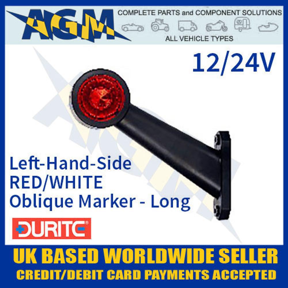 durite, 0-172-36, 017236, lh, red, white, oblique, led, outline, marker, lamp, 12v, 24v