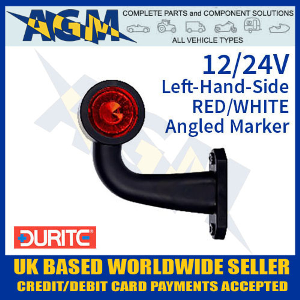 durite, 0-172-41, 017241, lh, red, white, angled, led, outline, marker, lamp, 12v, 24v