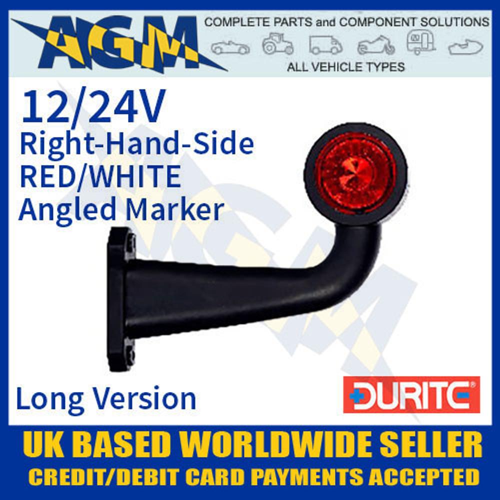 durite, 0-172-45, 017245, rh, red, white, angled, led, outline, marker, lamp, 12v, 24v