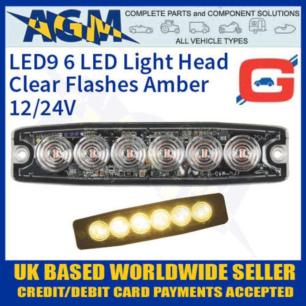 LED9A LED Amber Strobe Hazard Warning Lamp Light Ultra Thin