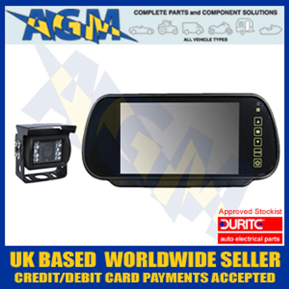 "Durite 0-775-47 CCTV 7"" Mirror Kit 12v or 24v Reversing Camera With Sound"