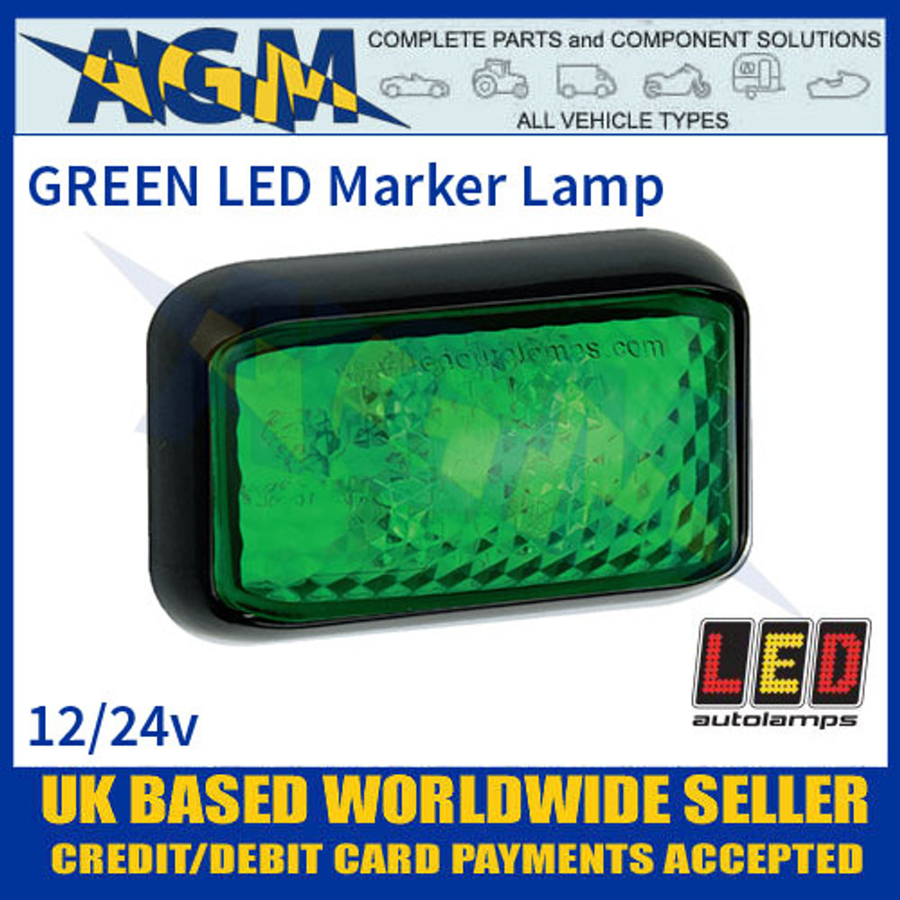 35GME GREEN 4 LED Marker Lamp, Multivolt 12-24 Volt with 40cm Hardwired Cable