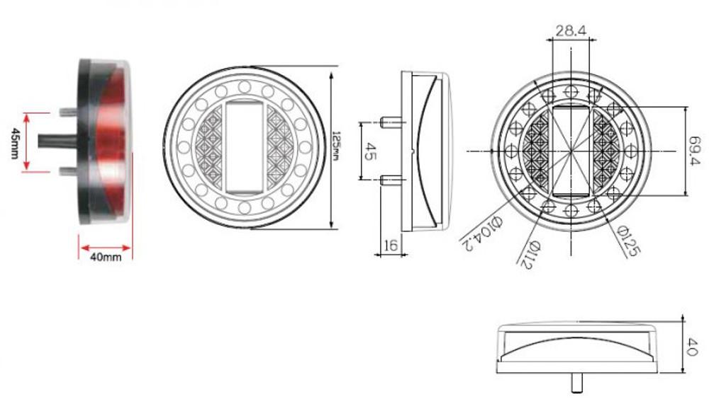 LED Autolamps 1XRWE MaXilamp Dimensions
