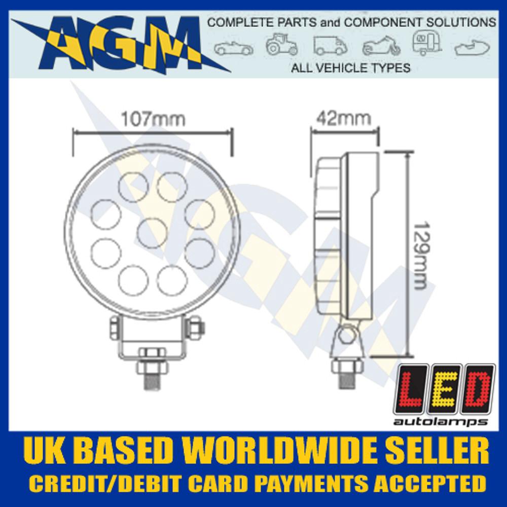 LED Autolamps  10715BM LED Round Flood Lamp 12/24v