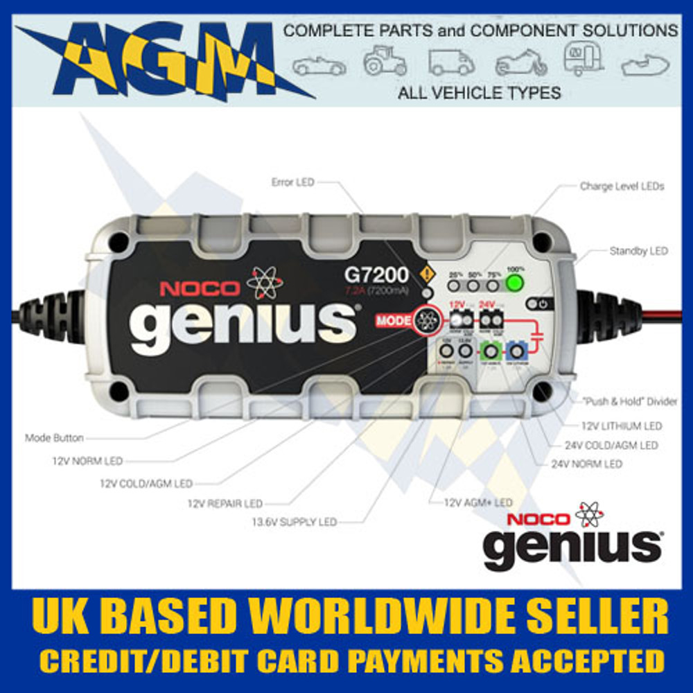 Noco Genius G7200uk 7 2 Amp Smart Battery Charger